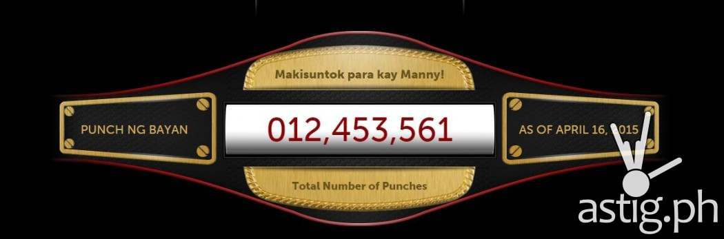 Isang Bayan Para Kay Pacman counter showing 12.4 million punches as of April 16, 2015