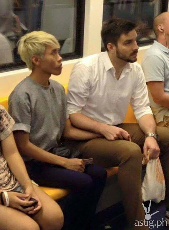 Naparuj Mond Kaendi and boyfriend Thorsten Mid are seen here holding hands while inside a train