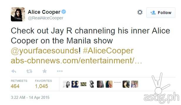 Real Alice Cooper tweets about Jay-R's impersonation of him