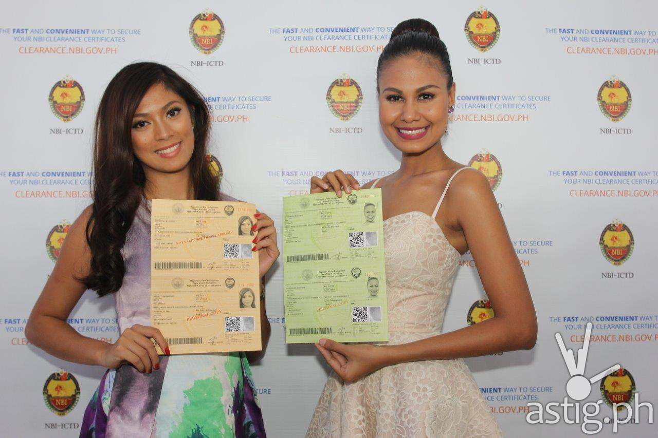 Miss Universe 2013 3rd Runner Up, Ariella Arida and Ms. Universe 2010 4th Runner-up, Venus Raj uses NBI e-clearance system.