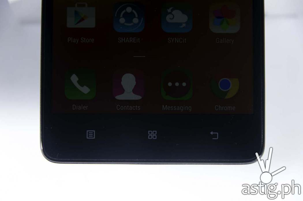 The Lenovo A7000 comes with three capacitive buttons separate from the main display