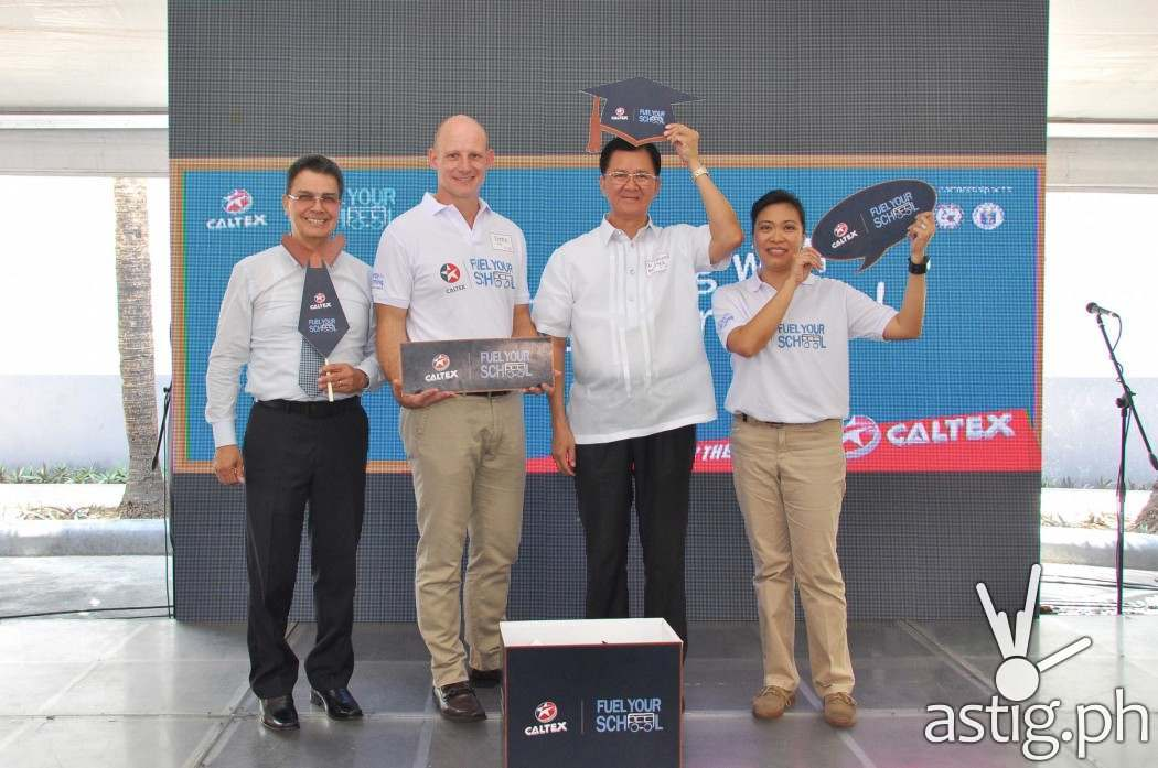 Just in time for the back to school season, Chevron Philippines Inc. is proud to announce the launch of Caltex Fuel Your School campaign in the country. From left to right (American Chamber Foundation Philippines Inc. President, Edwin Feist, Chevron Philippines Inc. General Manager for Philippine Products, Peter Morris, Department of Education of the Philippines, NCR Director III, Ponciano Menguito, and Chevron Philippines Inc. Policy, Government and Public Affairs Manager, Raissa Bautista.