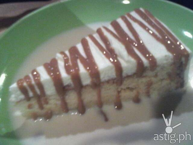 Tres Leches: Sponge cake soaked in 3 types of milk, drizzled with caramel sauce