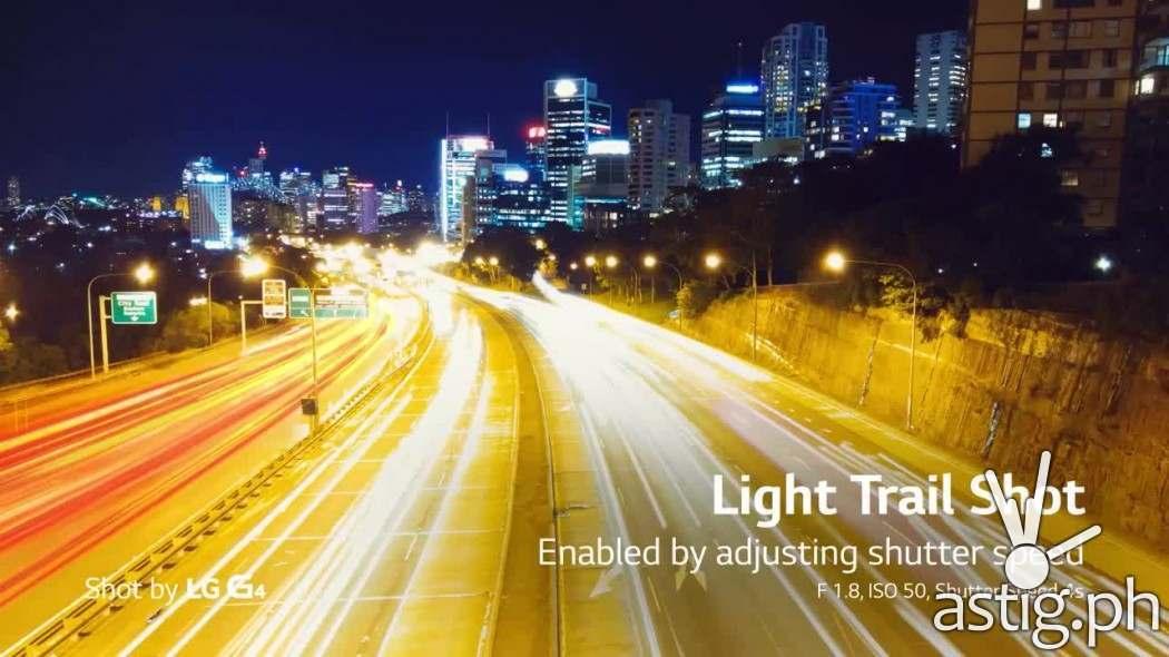 LG G4 light trail shot