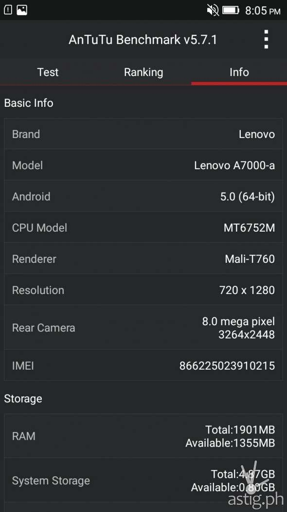 Lenovo A7000 device information in AnTuTu