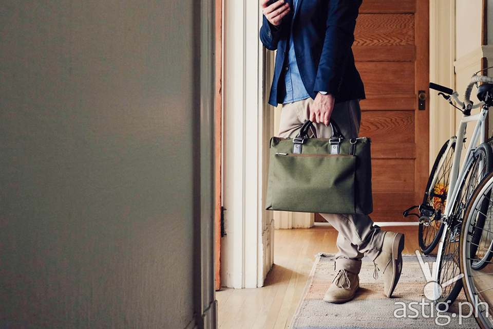 Moshi offers a sophisticated selection of laptop bags such as the Urbana Briefcase in Green