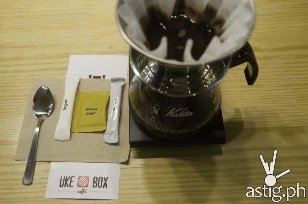 Kalita, a Japanese brand, is used to prepare coffee at Uke Box Caffe