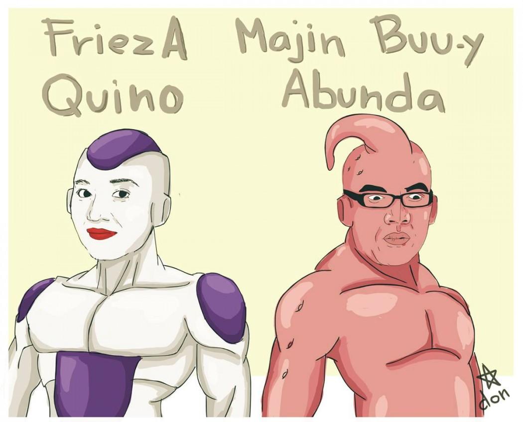 """Kris Aquno as """"FriezA Quino"""" (Frieza) and Boy Abunda as Majin Buu-y Abunda (Majin Buu)"""