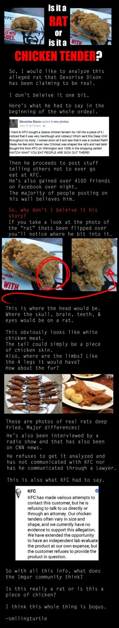 User smilingturtle posted this image which debunks the KFC fried rat story