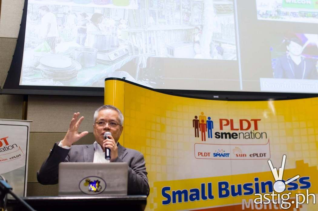 Mon Lopez, Exeucitve Director of Go Negosyo speaks at the Small Business Month press conference