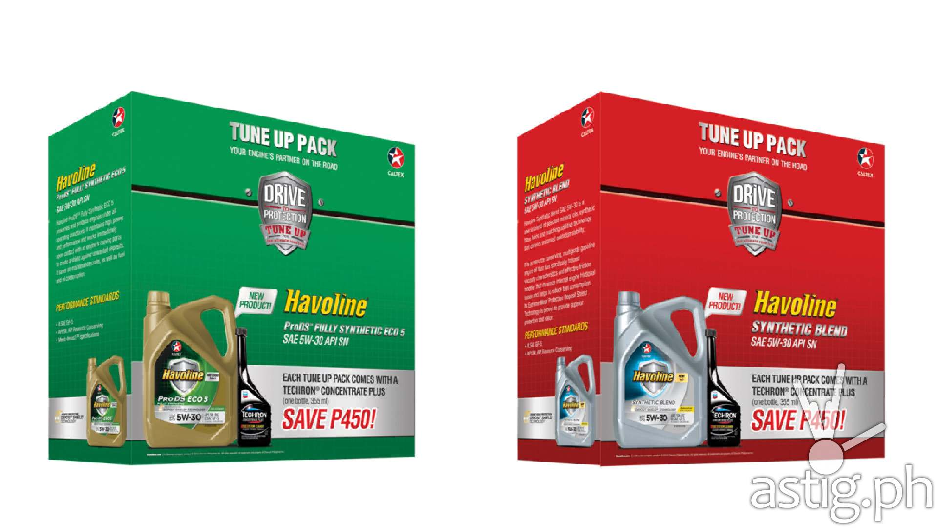 Havoline ProDS Fully Synthetic ECO 5 SAE 5W-30 and Havoline Synthetic Blend SAE 5W-30