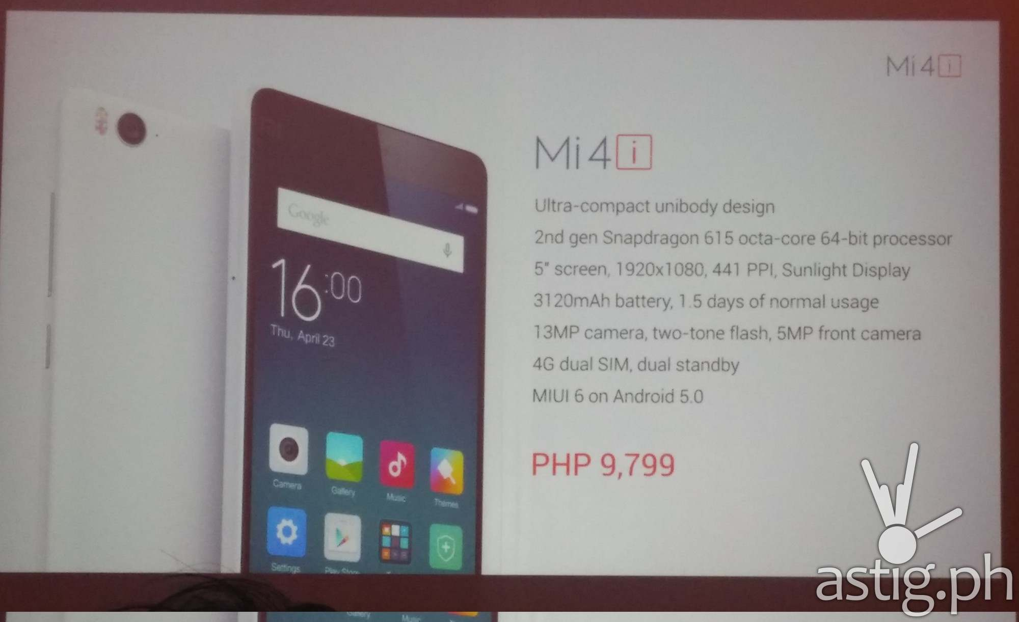 Xiaomi Mi 4i will be available starting July 29 for only P9
