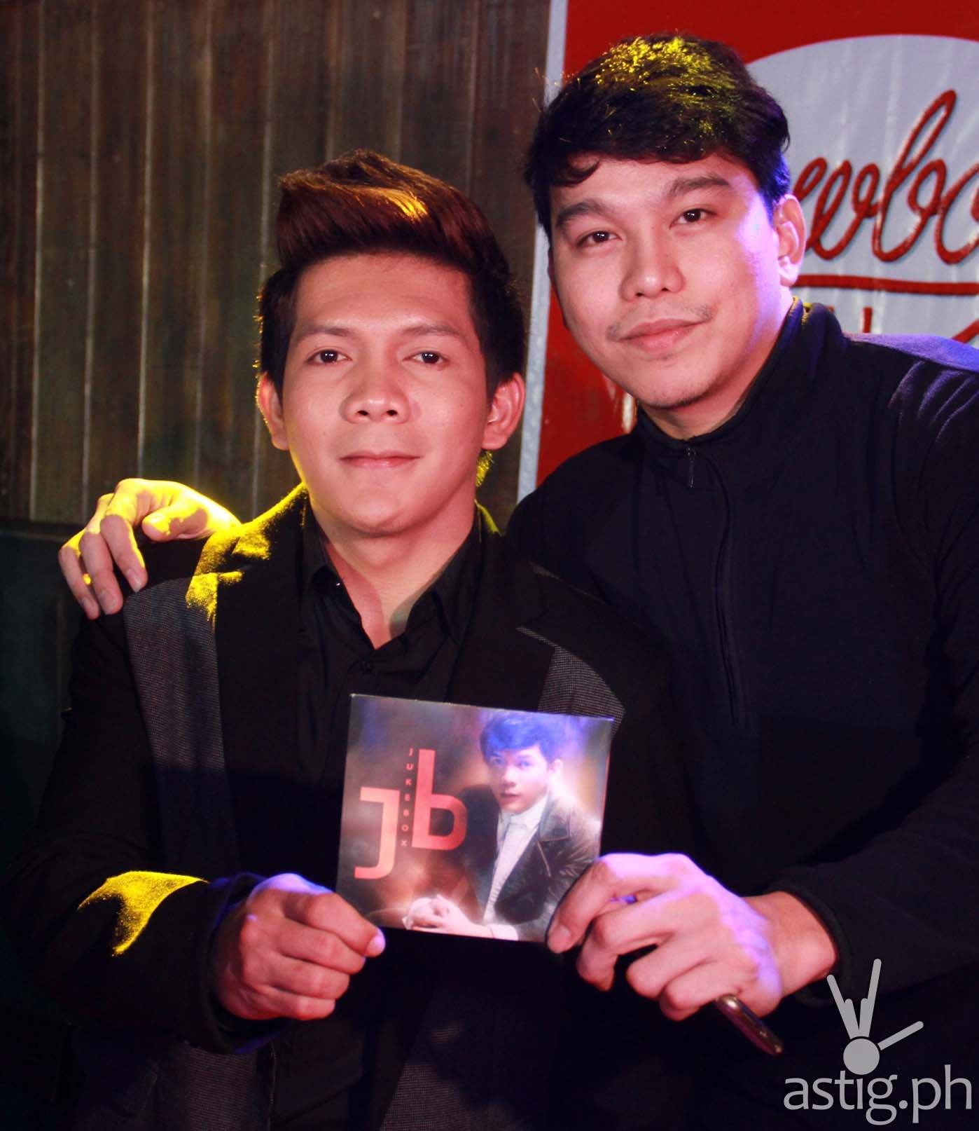 Jovit with one of his album Juke Box's producers Rox Santos