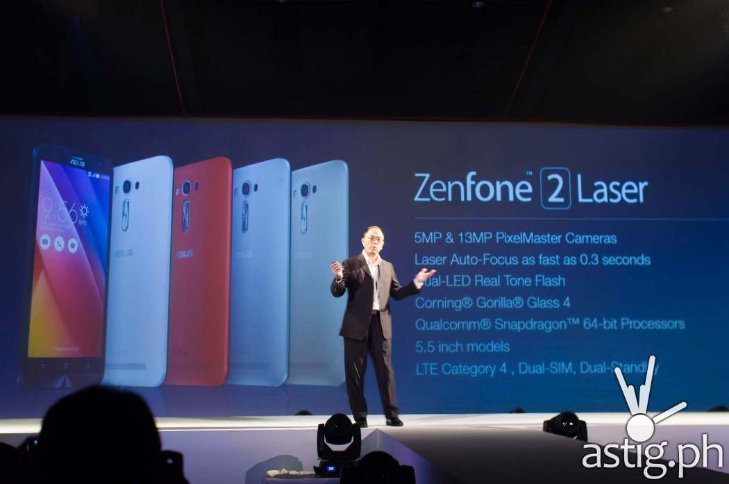 ASUS Phillipines Country Manager George Su shows off the capabilities of the ASUS Zenfone 2 Laser at ZenFestival Manila