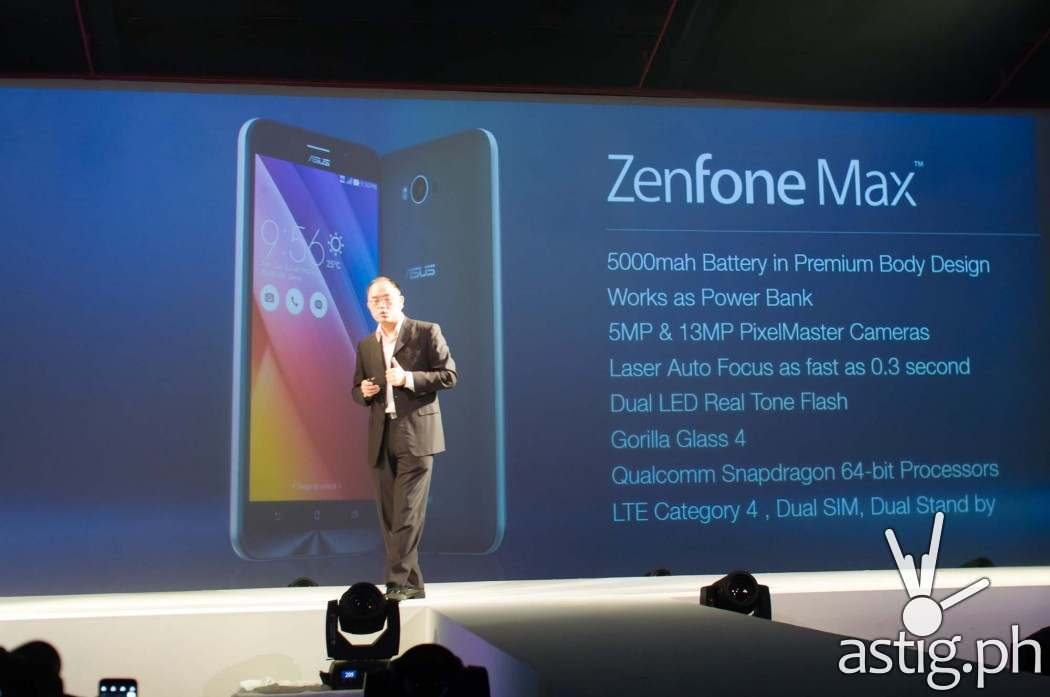 """The Zenfone Max has a 5000 mAh battery that can serve as a power bank to charge other devices"""" - George Su, ASUS Phillipines Country Manager"""