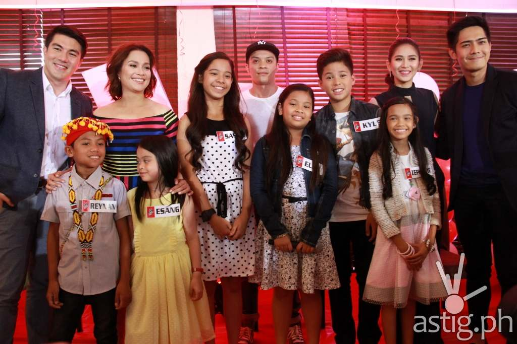 The Voice Kids hosts Luis and Robi, coaches Sarah, Bamboo, and Lea, and top 6 artists Reynan, Esang, Sassa, Elha, Kyle, and Zephanie