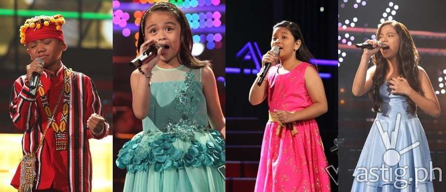 The Voice Kids season 2 Top 4 artists Reynan and Esang (Team Lea) and Elha and Sassa (Team Bamboo)