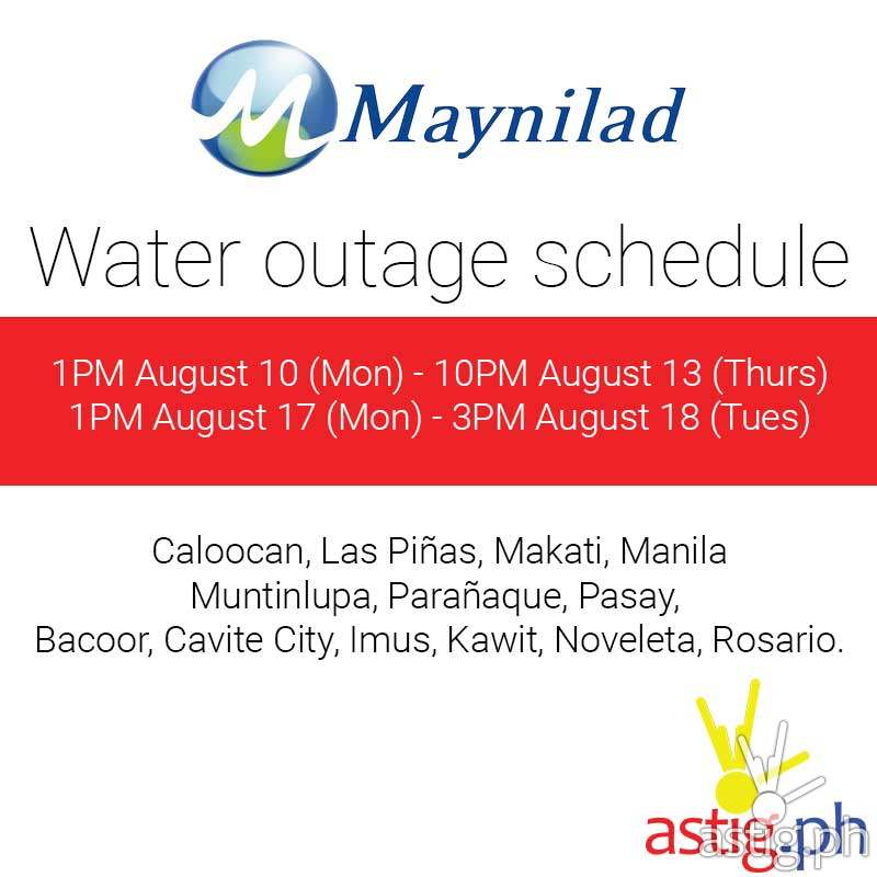 maynilad water service interruption schedule