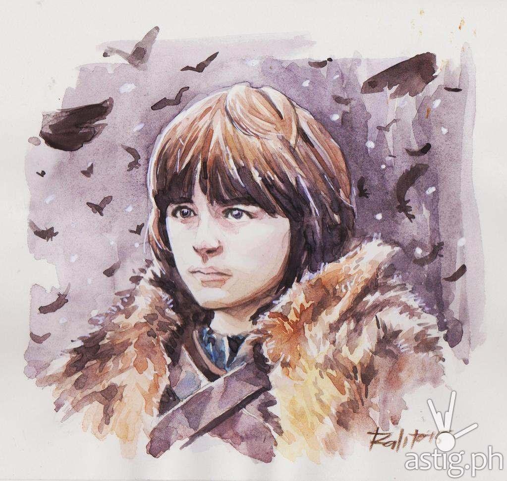 Bran Stark watercolor fan art by Peejhey Palita