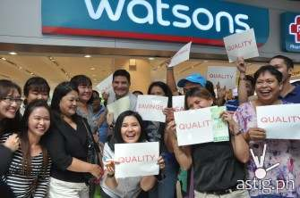 Edu and Lorna with Watsons shoppers