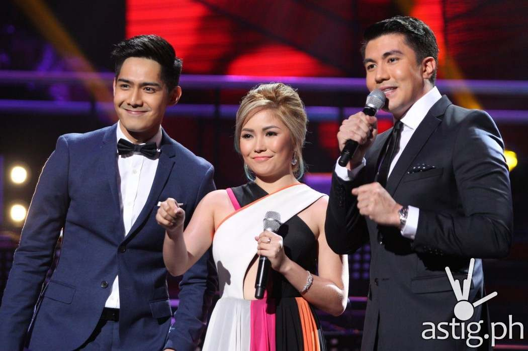 The Voice Kids hosts Robi Domingo, Yeng Constantino, and Luis Manzano