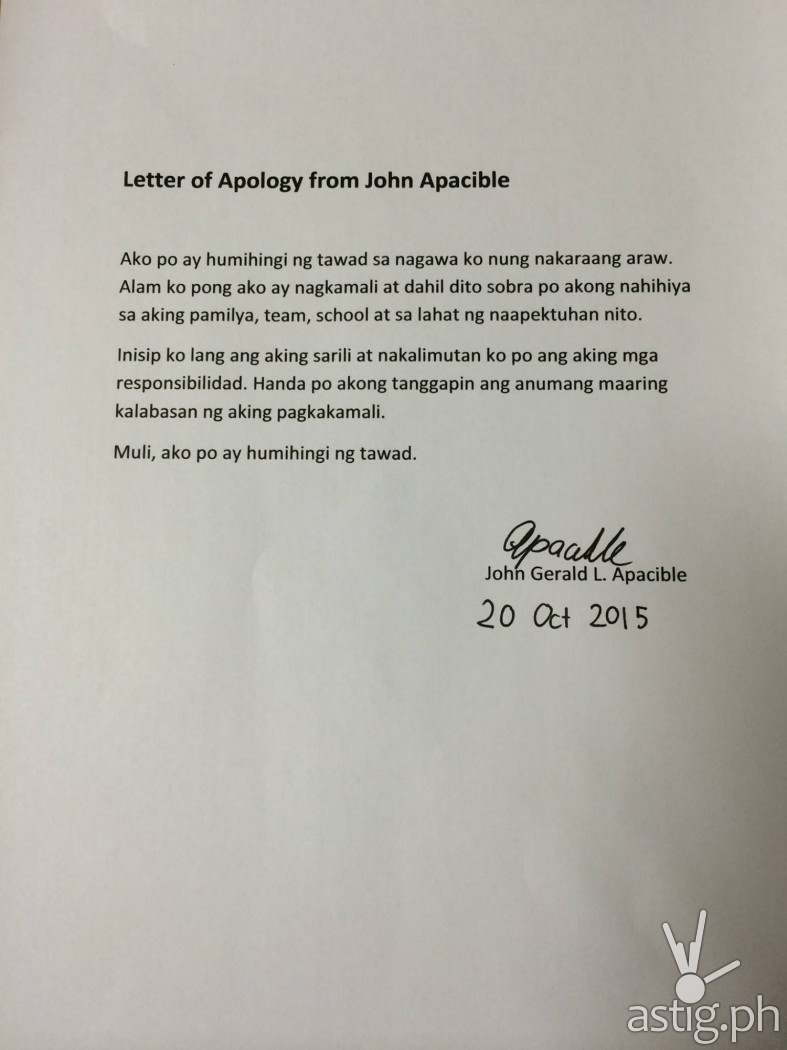 Letter of apology from John Apacible