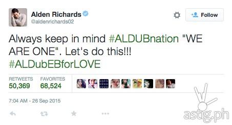 ALDubEBforLOVE top tweet by Alden Richards