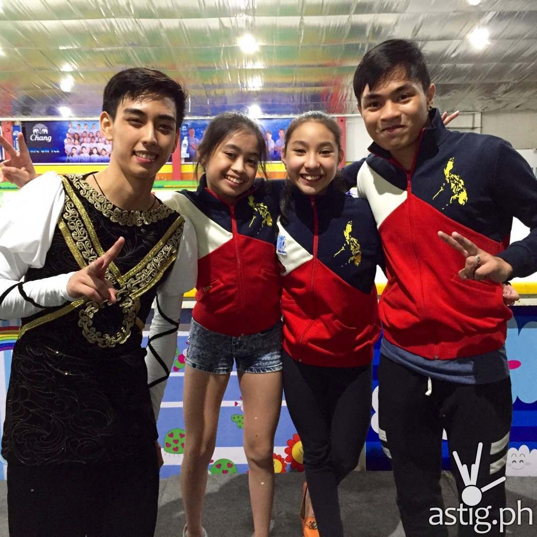 Michael Martinez with figure skaters from the Philippine Team