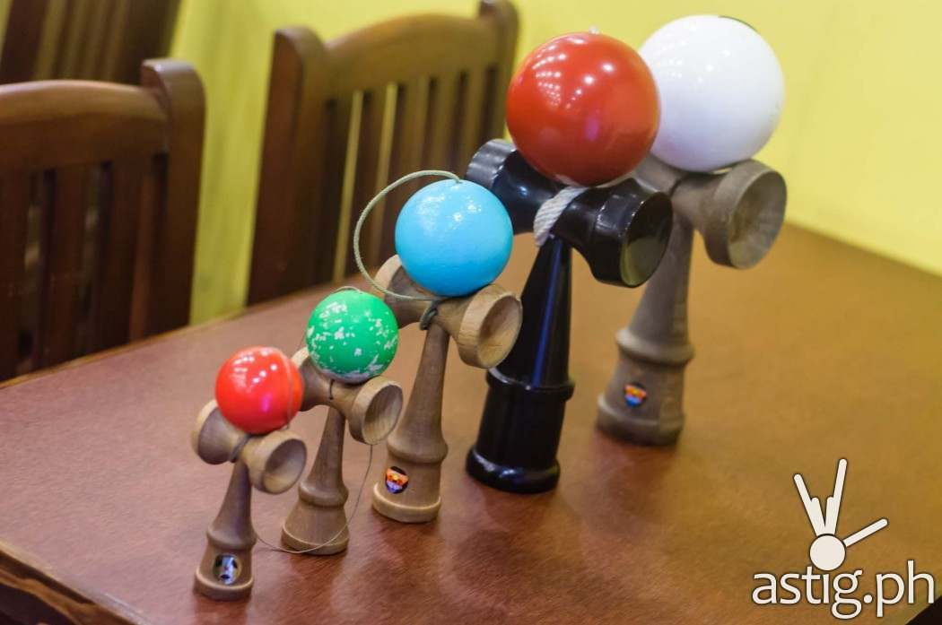 Kendamas of different sizes found inside go-en Ramen Shoppe