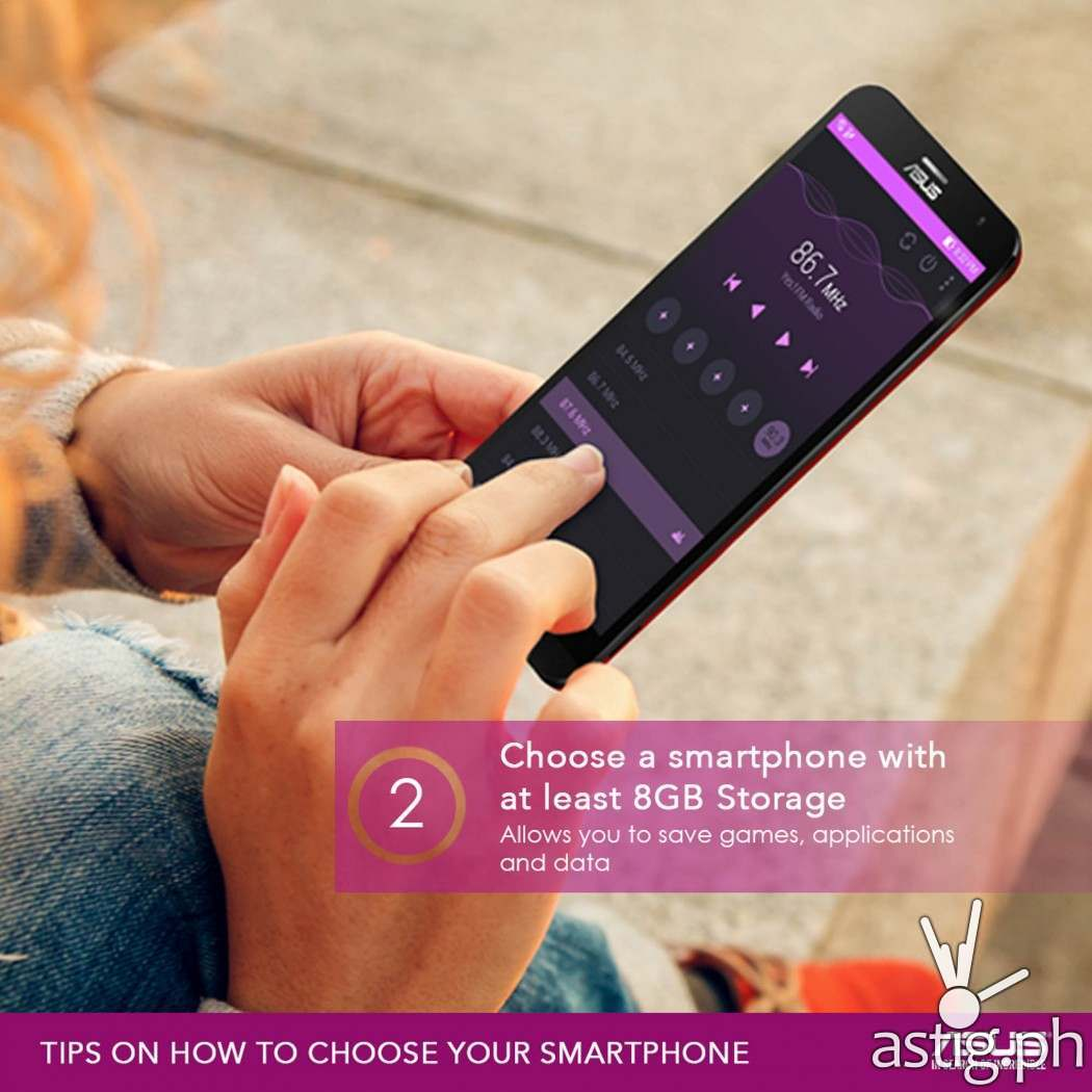 TIP #2: Choose smartphone with at least 8GB storage