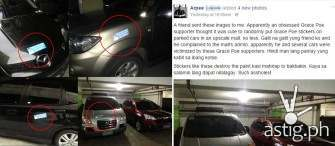Why did Grace Poe stickers anger car owners parked in a mall?