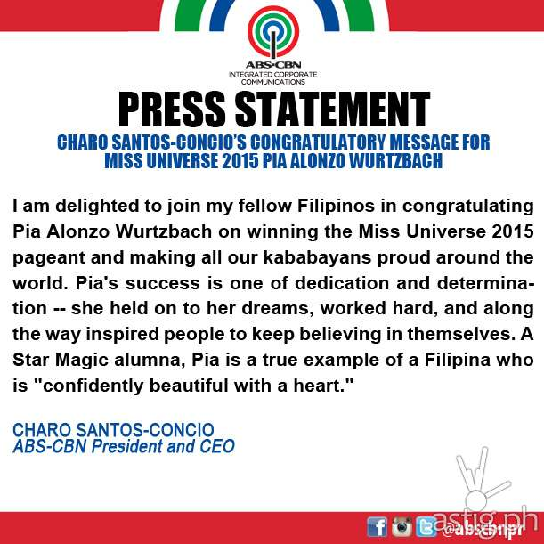 A message from ABS-CBN CEO Charo Santos Concio for Pia Wurtzbach