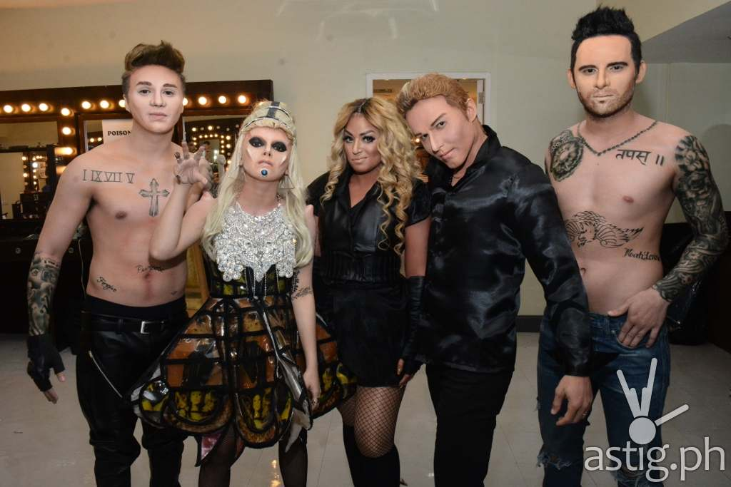 Sam as Justin Bieber, KZ as Lady Gaga, Denise as Beyonce, Kean as Ricky Martin, Michael as Adam Levine