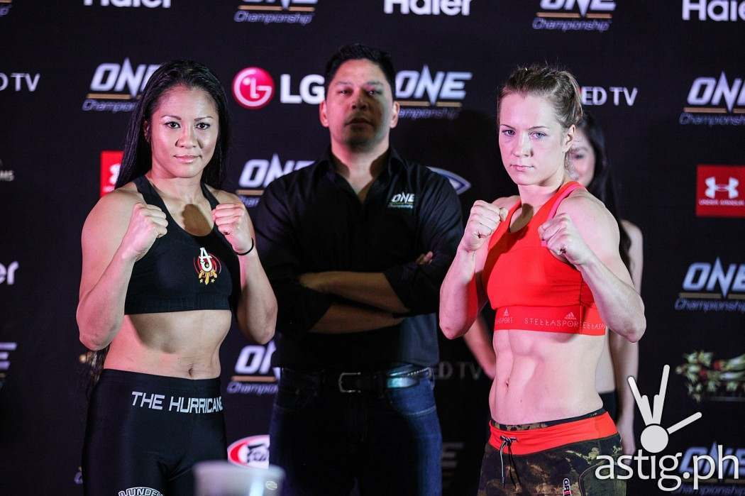 Ana Julaton and Irina Maezpa at the ONE SPIRIT OF CHAMPIONS weigh-ins
