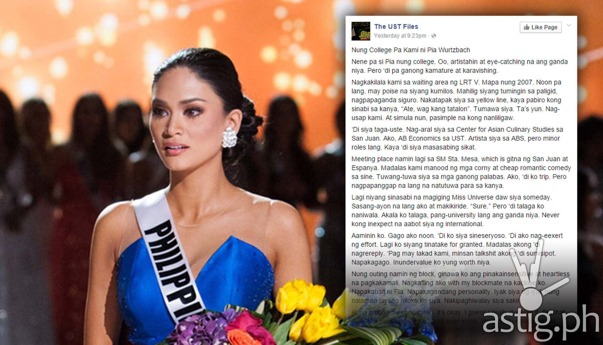 Pia Wurtzbach ex boyfriend posts on Facebook