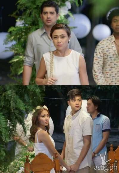 Amor interrupts wedding of Yna and Angelo to tell them that they are half-siblings