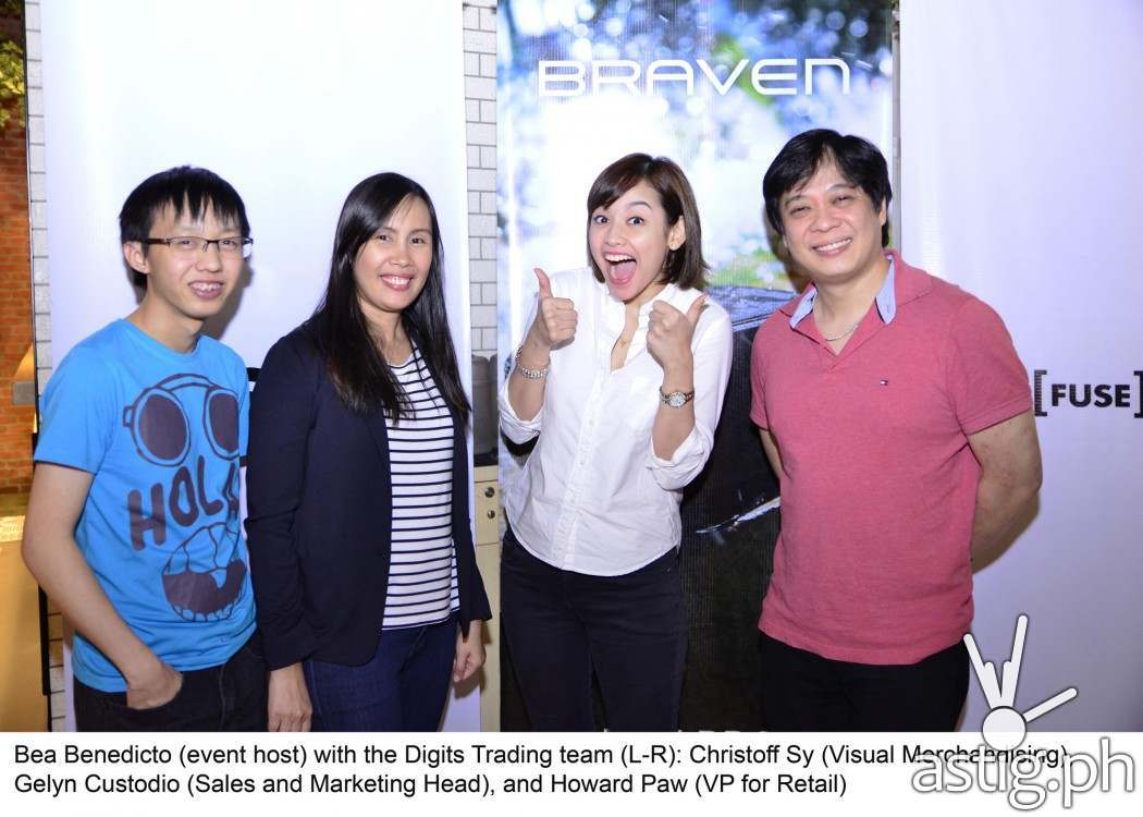 Bea Benedicto (event host) with the Digits Trading Team (L-R): Christoff Sy (Visual Merchandising), Geyln Custodio (Sales and Marketing Head), and Howard Paw (VP for Retail)