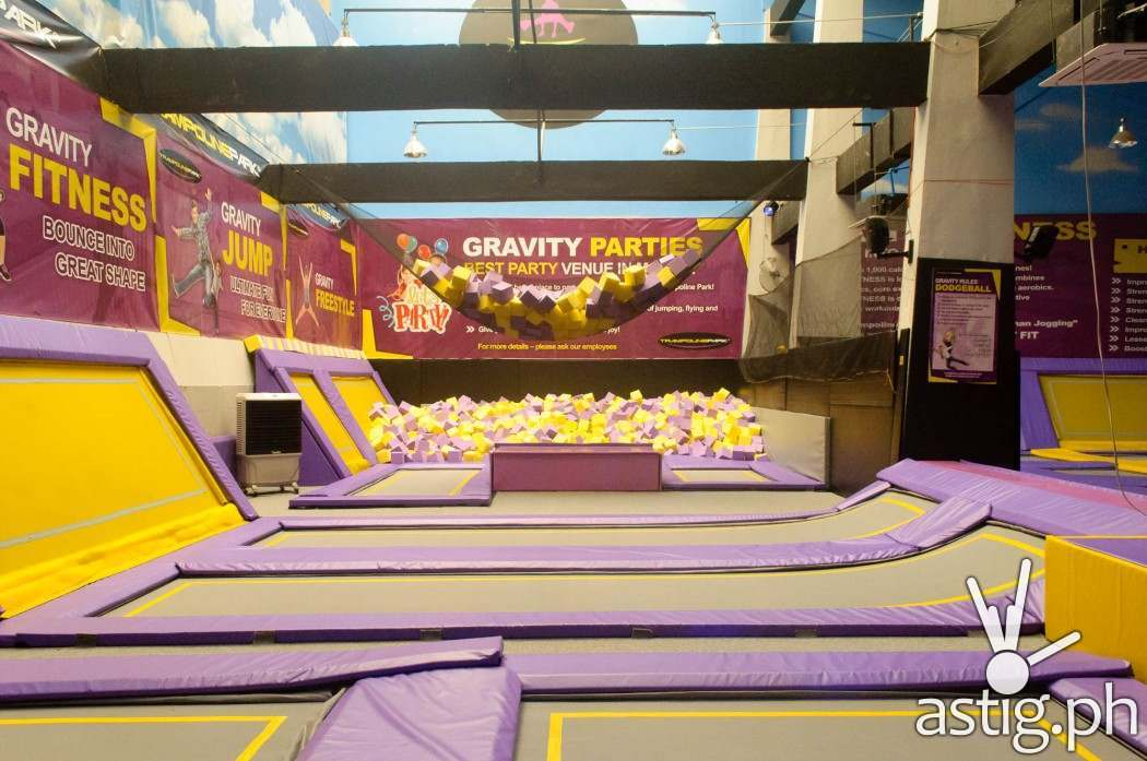 """Aside from trampolines, there are special areas like this """"foam"""" bed that you can jump - or rather, FLY into"""