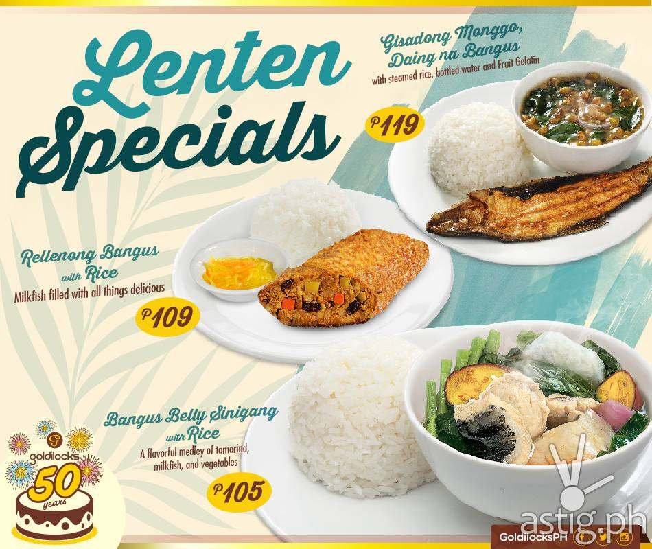 Lenten Diners from Goldilocks