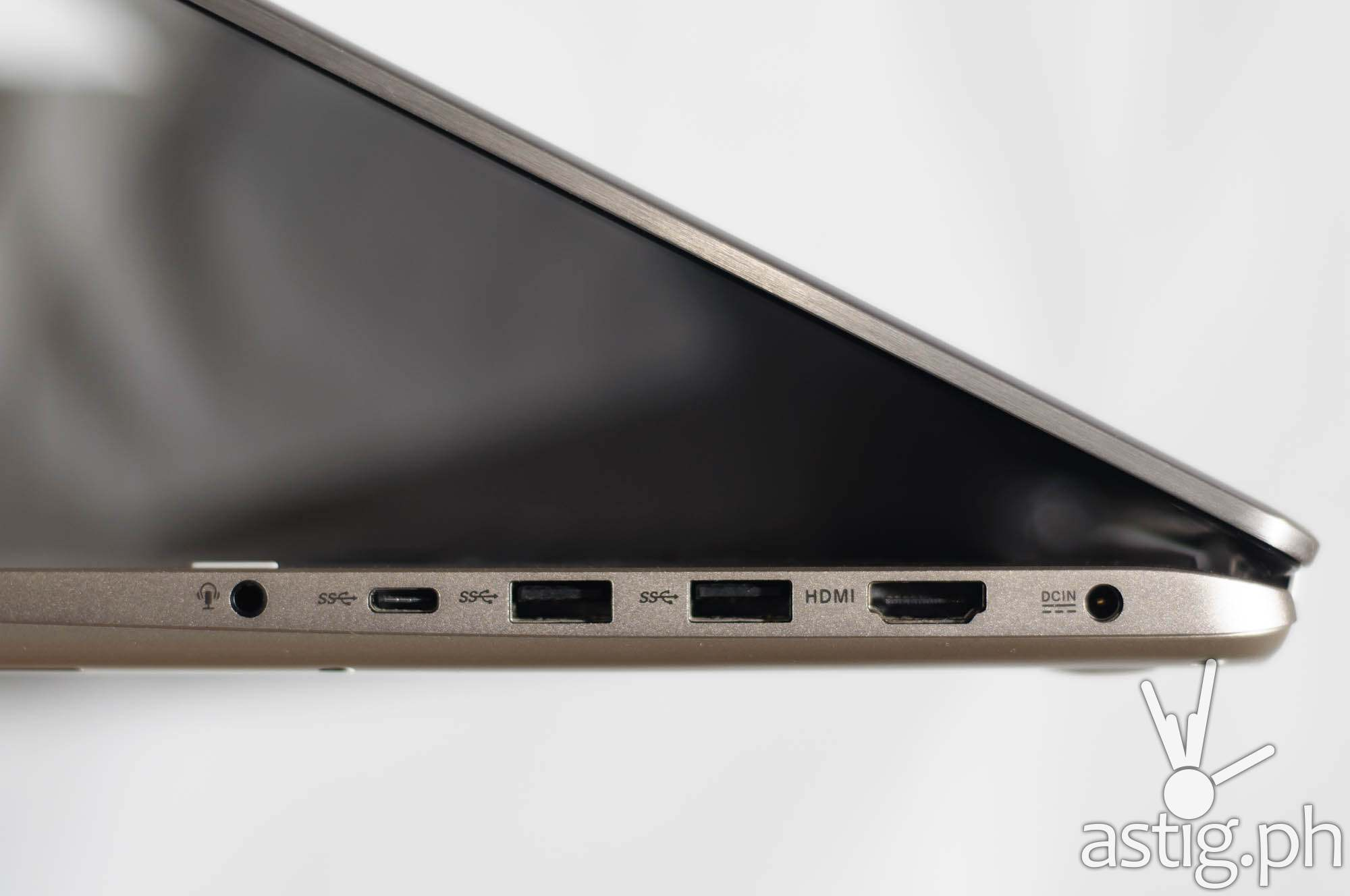 Right: 3.5mm audio port, USB type-C port, 2x USB 3.0 ports, and a standard HDMI port - ASUS ViVoBook Flip TP301UJ