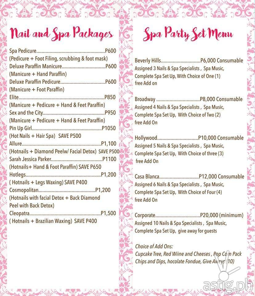 Celebrity Nails Rizal Spa Party Menu