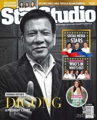 Duterte on the cover of StarStudio Magazine July 2016 issue