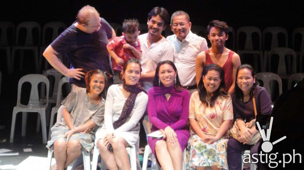 The Cast:  (Seated) Ina Azarcon-Bolivar, Chase Salazar, Peewee O'Hara,  Sheryll Ceasico (Alternate of Rosario) (Standing) Mark Mckeown, Al Gatmaitan and Ahmed Maulana with Director Banaue Miclat-Janssen (seated center) and Toots Tolentino (standing center)