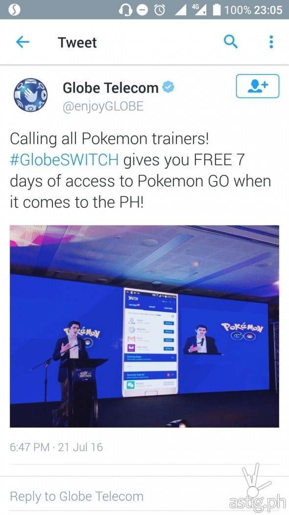 Pokemon Go announcement posted on Globe Telecom's official Twitter account