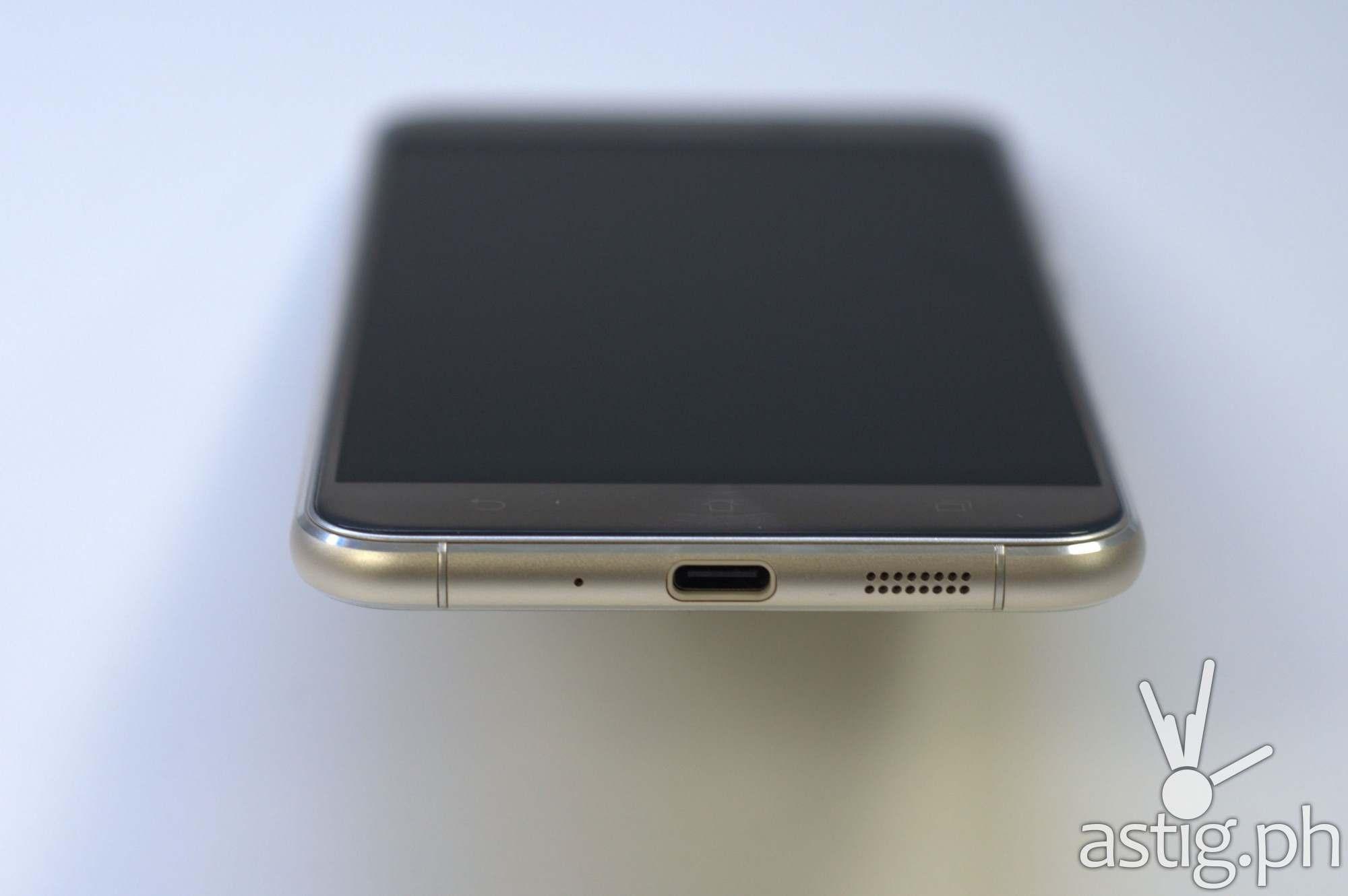 ASUS ZenFone 3 bottom showing USB Type-C port and loud speaker