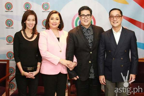 Aga Muhlach with ABS-CBN executives Head of Finance for Broadcast and Integrated News and Current Affairs Cat Lopez, COO for Broadcast Cory Vidanes, and president and CEO Carlo Katigbak