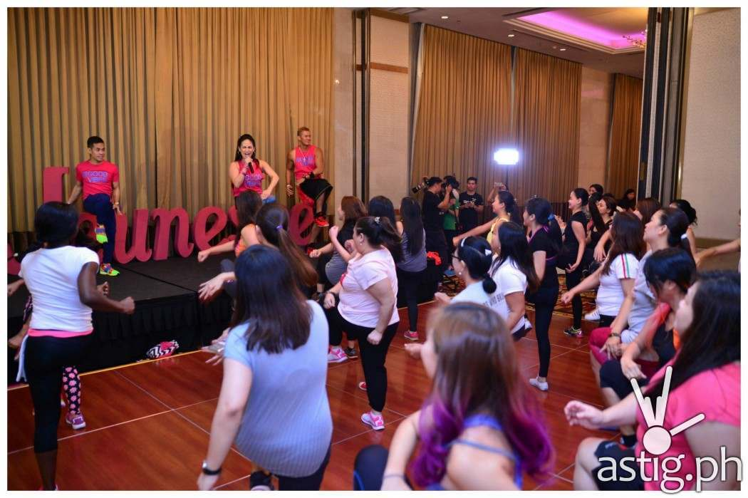 Celebrity Mom and certified Zumba instructor Regine Tolentino with Zumba instructors Martin Canate and Chin Sonesing hyping up the women crowd during the event