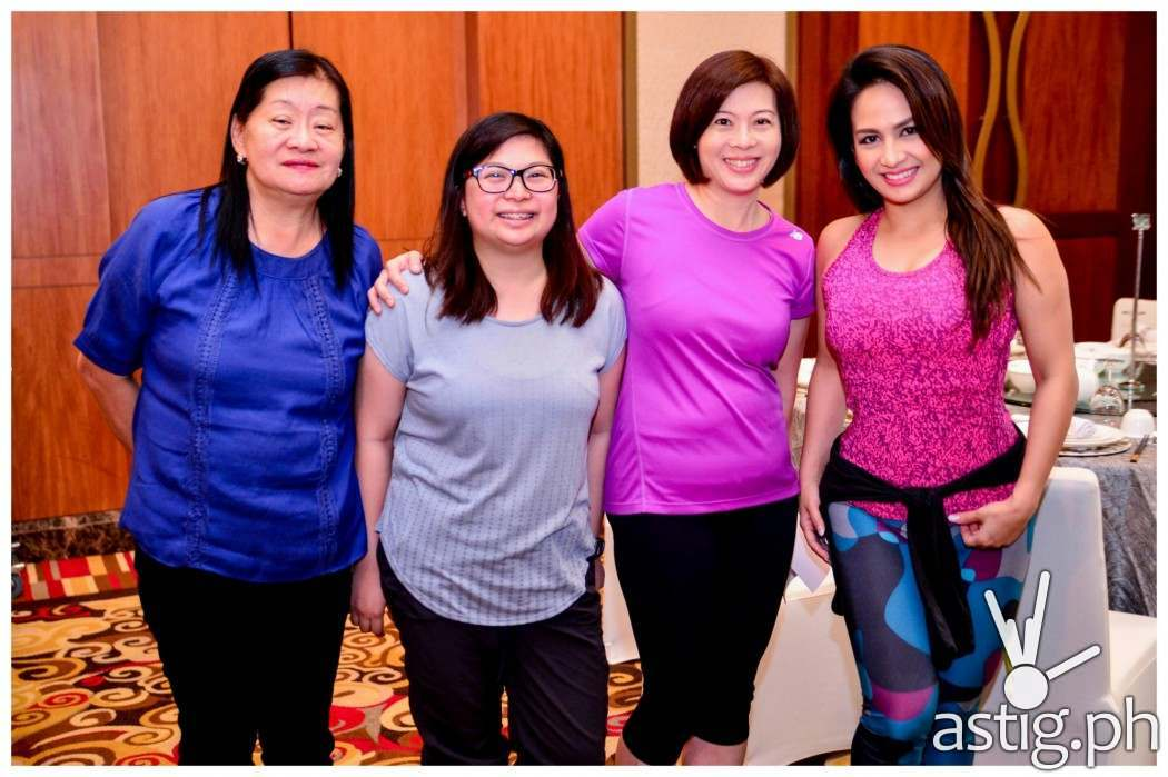 (L-R) Jeunesse Anion Finance head Margie Culibra, intern Maxine San Agustin Marketing and Amdin Head MJ Huang, and celebrity mom and Zumba instructor Regine Tolentino