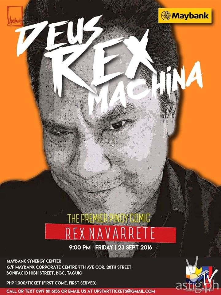 Rex Navarrete is back in DEUS REX MACHINA! 9:00 pm, Friday, September 23