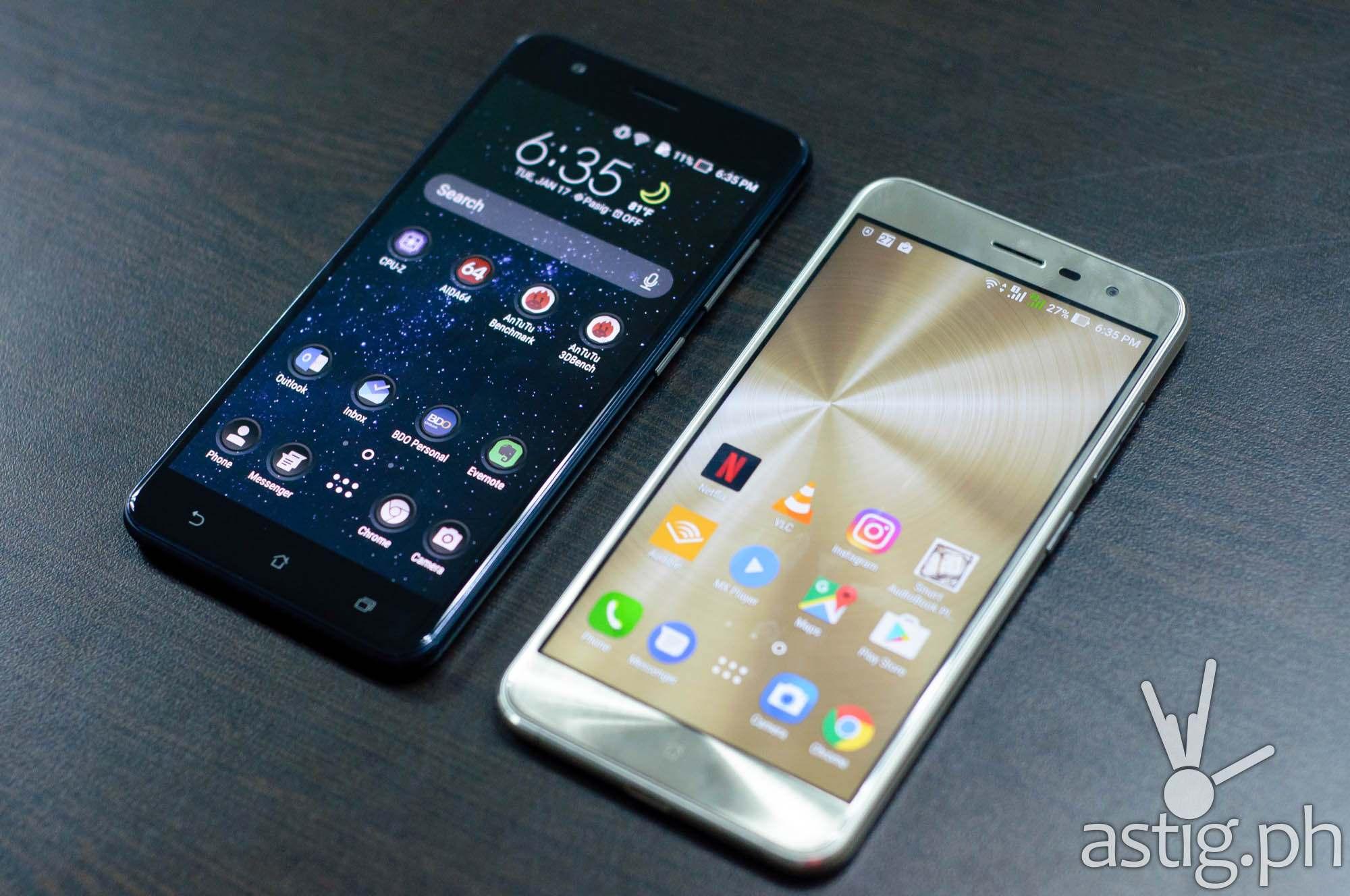 ASUS Zenfone 3 Zoom (left) vs ASUS Zenfone 3 5.5 (right) - front